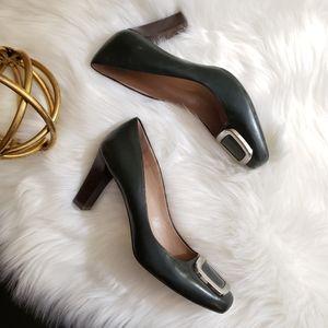 Franco Sarto | 8 green heels buckle wooden heel